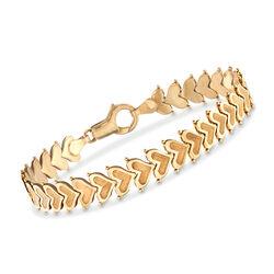 "C. 1990 Vintage 14kt Yellow Gold Heart Bracelet. 7"", , default"