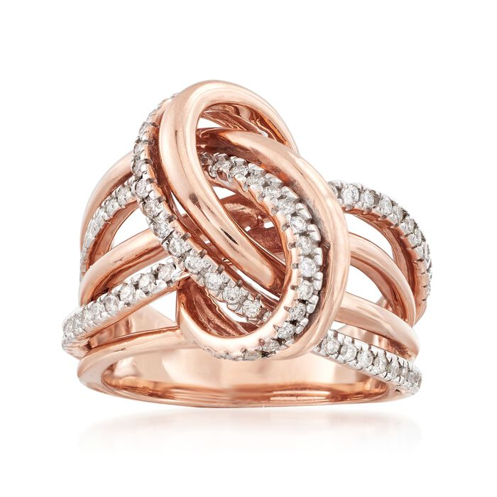 .50 ct. t.w. Diamond Knot Ring in 14kt Rose Gold. Size 9, , default