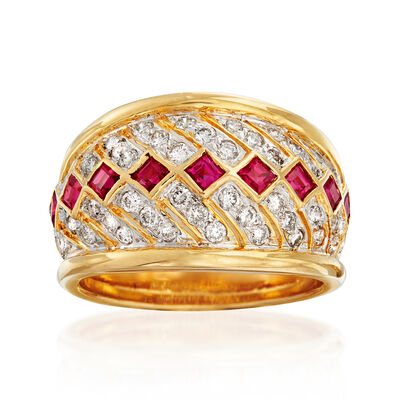 C. 1980 Vintage .75 ct. t.w. Diamond and .75 ct. t.w. Ruby Ring in 18kt Yellow Gold, , default