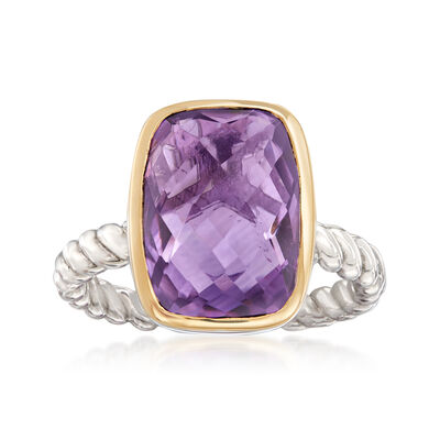 6.00 Carat Cushion-Cut Amethyst Ring in Sterling Silver and 14kt Yellow Gold, , default