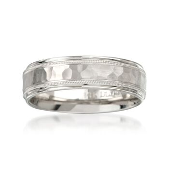 Men's 6.5mm 14kt White Gold Hammered Wedding Ring, , default