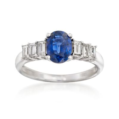1.60 Carat Sapphire and .50 ct. t.w. Diamond Ring in 14kt White Gold, , default