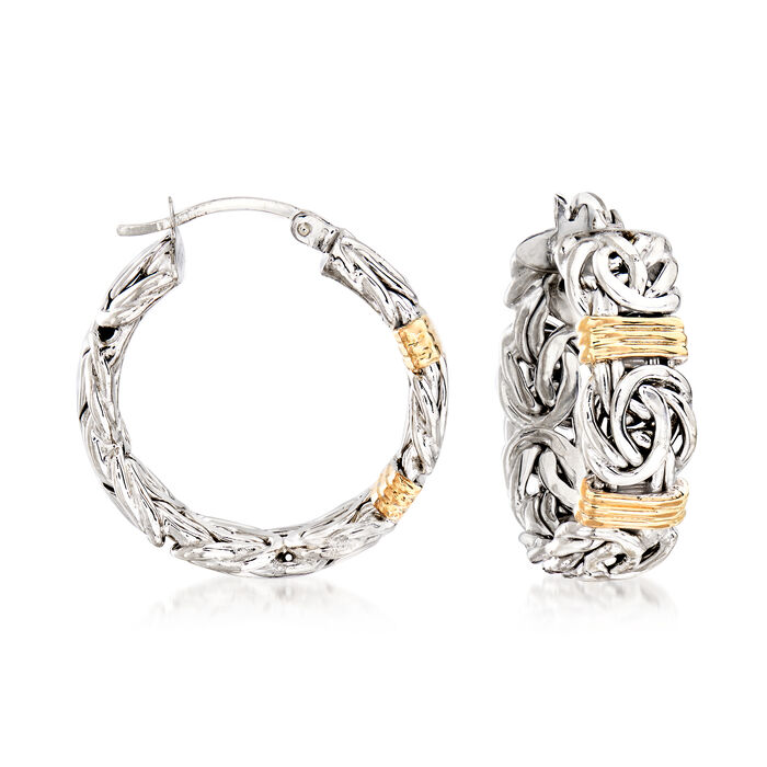 """Byzantine Station Hoop Earrings in Sterling Silver with 14kt Yellow Gold. 1 1/8"""""""