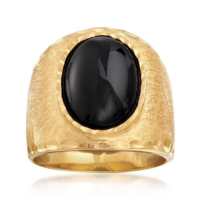 Italian 10x14mm Black Onyx Ring in 18kt Gold Over Sterling