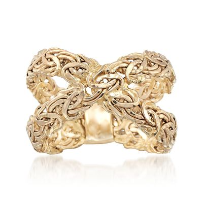 14kt Yellow Gold Byzantine Crisscross Ring, , default
