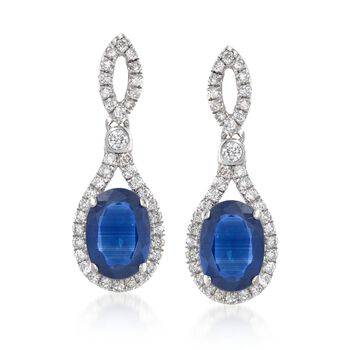 1.70 ct. t.w. Sapphire and .32 ct. t.w. Diamond Drop Earrings in 18kt White Gold, , default