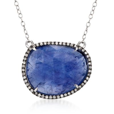 13.00 Carat Tanzanite and .15 ct. t.w. Diamond Necklace in 14kt White Gold, , default