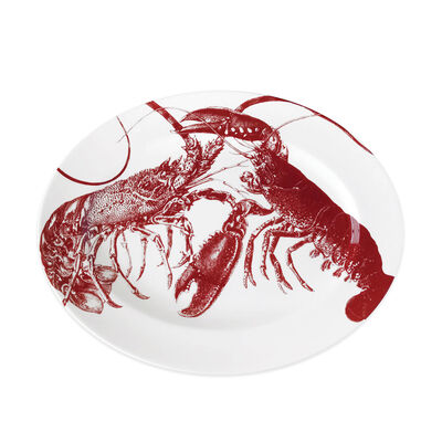 "Caskata ""Lobsters Red"" Red and White Porcelain Large Oval Platter, , default"