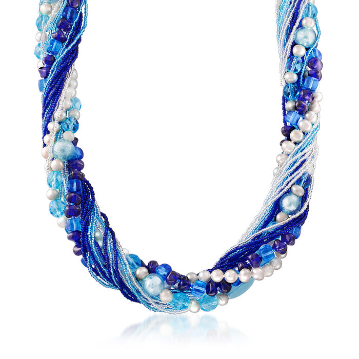 """Italian Multicolored Murano Bead and 6mm & 10mm Cultured Pearl Torsade Necklace in Sterling Silver. 18"""", , default"""