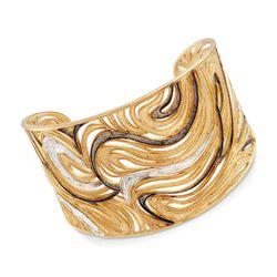 Italian Two-Tone Sterling Silver Swirl Cuff Bracelet, , default