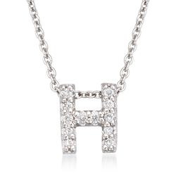 "Roberto Coin ""Tiny Treasures"" Diamond Accent Initial ""H"" Necklace in 18kt White Gold. 16"", , default"