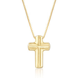 Italian 18kt Yellow Gold Puffed Cross Pendant Necklace, , default