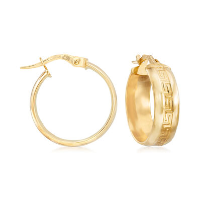 Italian Greek Key Hoop Earrings in 14kt Yellow Gold, , default