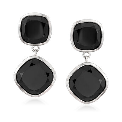 19.00 ct. t.w. Black Spinel Drop Earrings in Sterling Silver, , default