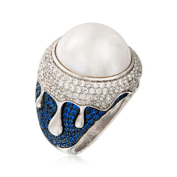 16mm Mabe Cultured Pearl, 1.50 ct. t.w. CZ and 1.28 ct. t.w. Synthetic Blue Spinel Ring in Sterling Silver. Size 5