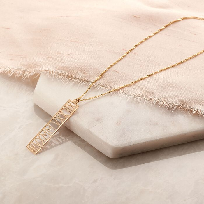 14kt Yellow Gold Roman Numeral Date Pendant Necklace