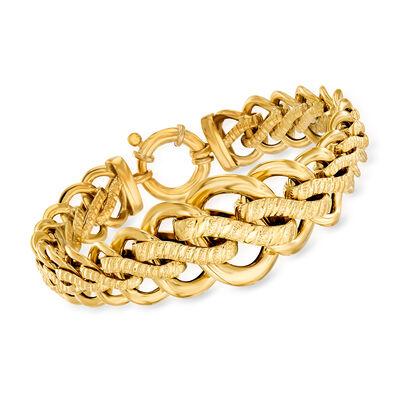Italian 18tk Yellow Gold Link Bracelet, , default