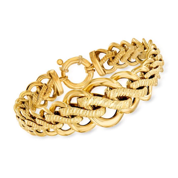 """Italian 18tk Yellow Gold Link Bracelet. 7.5"""""""
