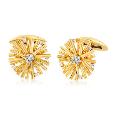 .25 ct. t.w. Diamond Circle Cuff Links in 14kt Yellow Gold, , default
