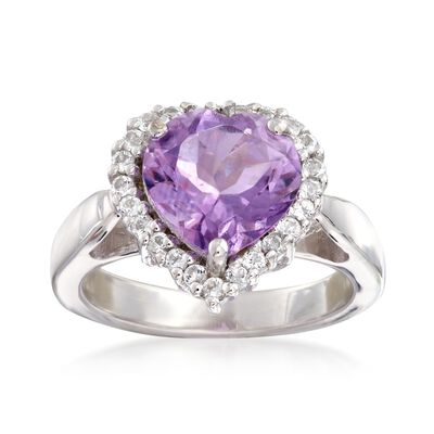 2.80 Carat Amethyst and .40 ct. t.w. White Topaz Heart Ring in Sterling Silver