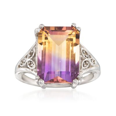 7.75 Carat Emerald-Cut Ametrine Ring With White Topaz Accents in Sterling Silver, , default