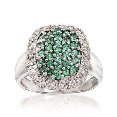 C. 1990 Vintage 1.20 ct. t.w. Green Sapphire and .30 ct. t.w. Diamond Cluster Ring in 14kt White Gold, , default