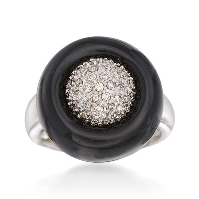 C. 1950 Vintage .40 ct. t.w. Pave Diamond and Black Onyx Ring in 14kt White Gold, , default