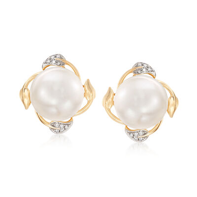Leaf-Wrapped Cultured Pearl Earrings in 14kt Yellow Gold, , default