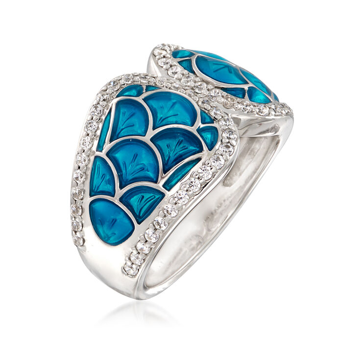 "Belle Etoile ""Marina"" Sea-Blue Enamel and .95 ct. t.w. CZ Ring in Sterling Silver"