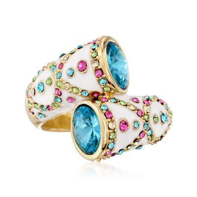 Via&#174: Collection Multicolored Crystal and White Enamel Bypass Ring, , default