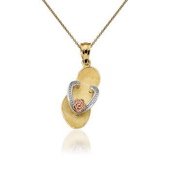 """14kt Two-Tone Gold Flip-Flop Pendant Necklace. 18"""", , default"""