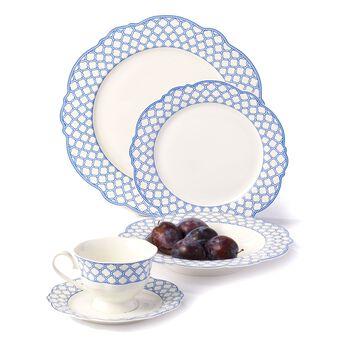 "Godinger ""Bristol Blue"" Scalloped Bone China Dinnerware, , default"