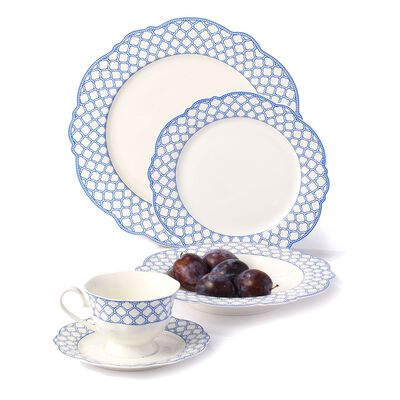 """Bristol Blue"" Scalloped Bone China Dinnerware, , default"