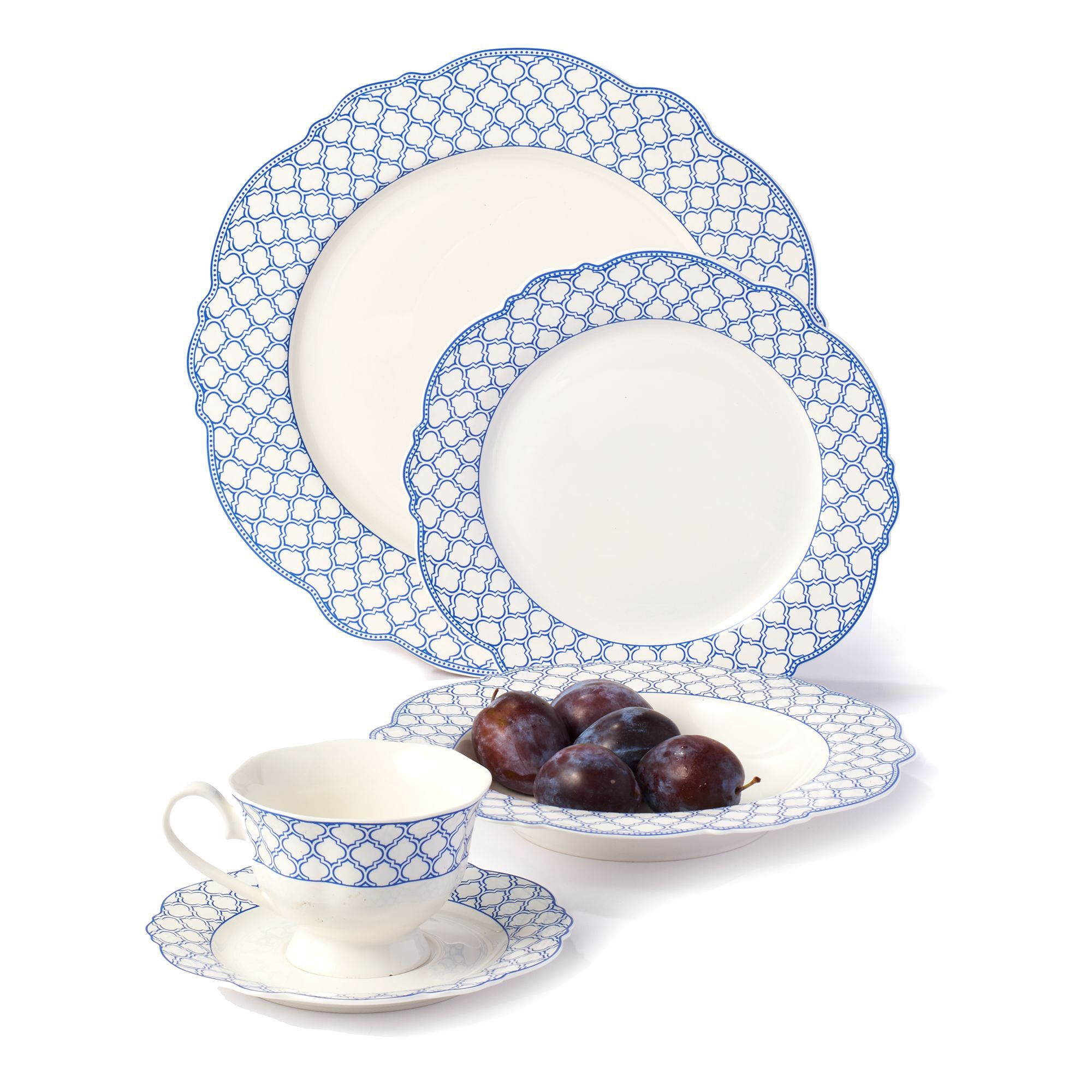 Godinger u0026quot;Bristol Blueu0026quot; Scalloped Bone China Dinnerware  default  sc 1 st  Ross-Simons & Godinger