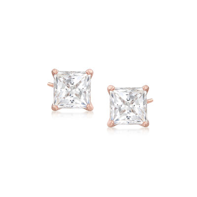 "Swarovski Crystal ""Attract"" Stud Earrings in Rose Gold-Plated Metal, , default"