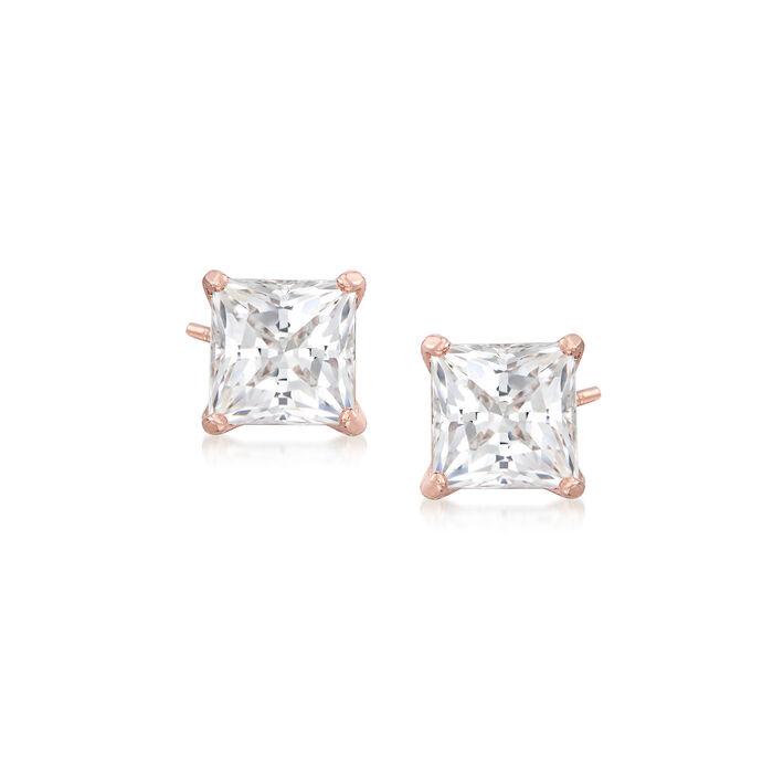 """Swarovski Crystal """"Attract"""" Stud Earrings in Rose Gold-Plated Metal. Std, , default"""