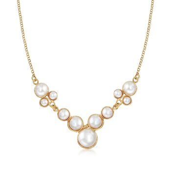 4-10mm Bezel-Set Cultured Pearl Necklace in 18kt Yellow Gold Over Sterling Silver, , default