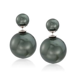 8-16mm Black Shell Pearl Front-Back Earrings in Sterling Silver, , default