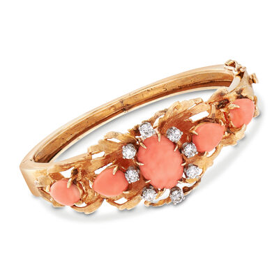 C. 1970 Coral and 1.20 ct. t.w. Diamond Bangle Bracelet in 14kt Yellow Gold, , default