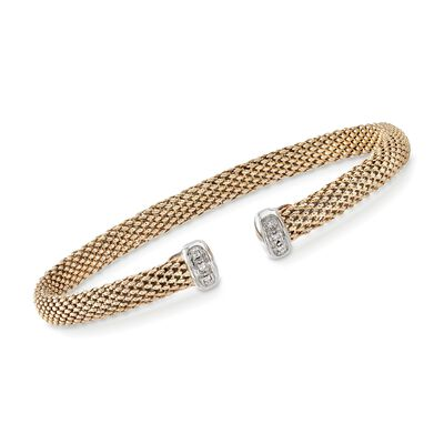 "Phillip Gavriel ""Popcorn"" 14kt Yellow Gold Open-Front Cuff Bracelet with Diamond Accents, , default"