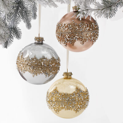 Set of 6 Tri-Colored Beaded Glass Ball Ornaments, , default