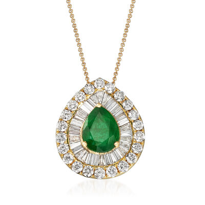 1.40 Carat Emerald and 1.29 ct. t.w. Diamond Necklace in 18kt Yellow Gold, , default