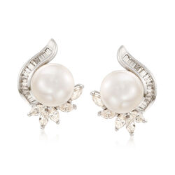 C. 1990 Vintage 11.2x11.3mm Cultured South Sea Pearl and 2.25 ct. t.w. Diamond Earrings in 18kt White Gold, , default