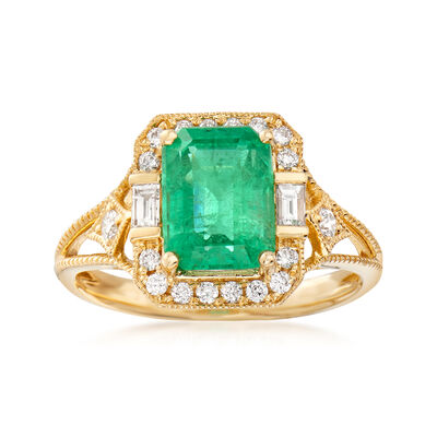 2.04 Carat Emerald and .32 ct. t.w. Diamond Frame Ring in 14kt Yellow Gold, , default