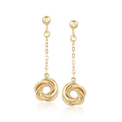 Italian 14kt Yellow Gold Swirl Drop Earrings, , default