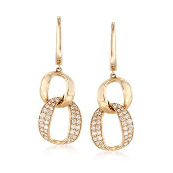 .58 ct. t.w. Diamond Link Drop Earrings in 14kt Yellow Gold. Drop Earrings, , default