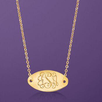 Italian 14kt Yellow Gold Monogram Oval ID Necklace, , default