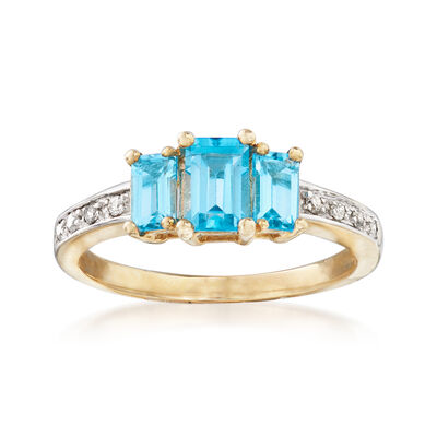 1.10 ct. t.w. Blue Topaz Three-Stone Ring with Diamond Accents in 14kt Yellow Gold, , default