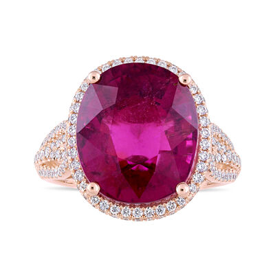 11.00 Carat Pink Tourmaline and .92 ct. t.w. Diamond Ring in 14kt Rose Gold, , default