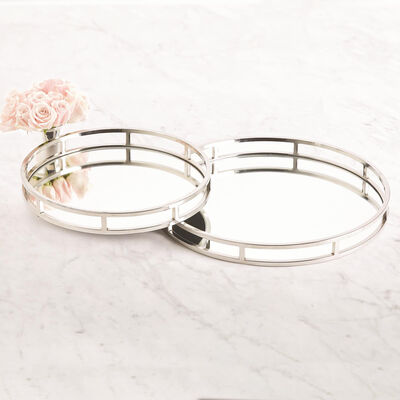 "Set of 2 ""Princeton"" Round Mirrored Gallery Trays, , default"